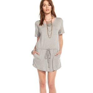 Chaser Jersey Drape Back Short Sleeve Mini Dress S